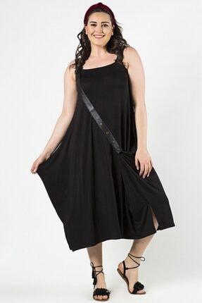 Womenice Büyük Beden Siyah Kemerli Sıfır Kol Elbise