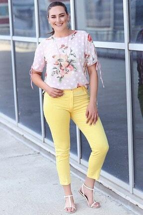 Womenice Kadın Sarı 5 Cep Pantolon