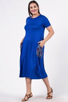 Womenice Büyük Beden Mavi Kısa Kol Cebi Çiçekli Elbise