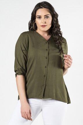 Womenice Kadın Haki Büyük Beden Kısa Kol Düz Kesim Gömlek