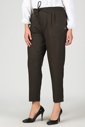 Womenice Kadın Haki Büyük Beden Beli Lastikli Havuç Pantolon