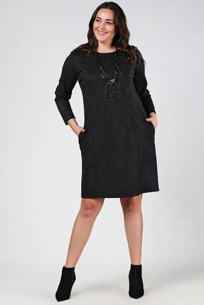 Womenice Kadın Siyah Büyük Beden Basic Alaçatı Stili Elbise