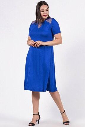Womenice Kadın Mavi Büyük Beden Omuzu Göğüsü Tül Detaylı Elbise