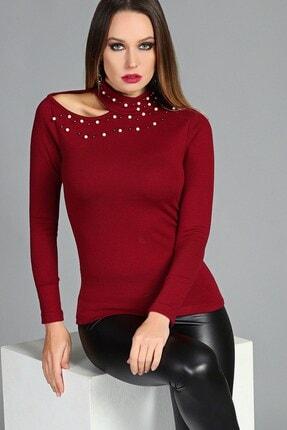 Womenice Kadın Bordo Yaka İnci Dekolte Bluz W71442S02