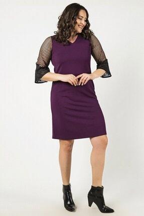Womenice Kadın Mor Kolları Fileli Elbise