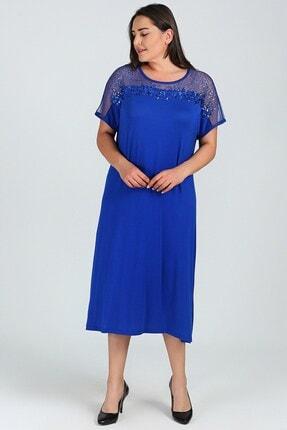 Womenice Kadın Mavi  Pullu Elbise