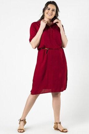 Womenice Büyük Beden Kırmızı Yaka Düğmeli Elbise