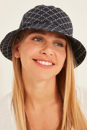 Y-London 13381 Büyük Çapa Desenli Lacivert Bucket Şapka