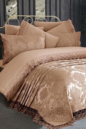 Çeyiz Diyarı Fransız Dantelli Kure Yatak Örtüsü Cappucino