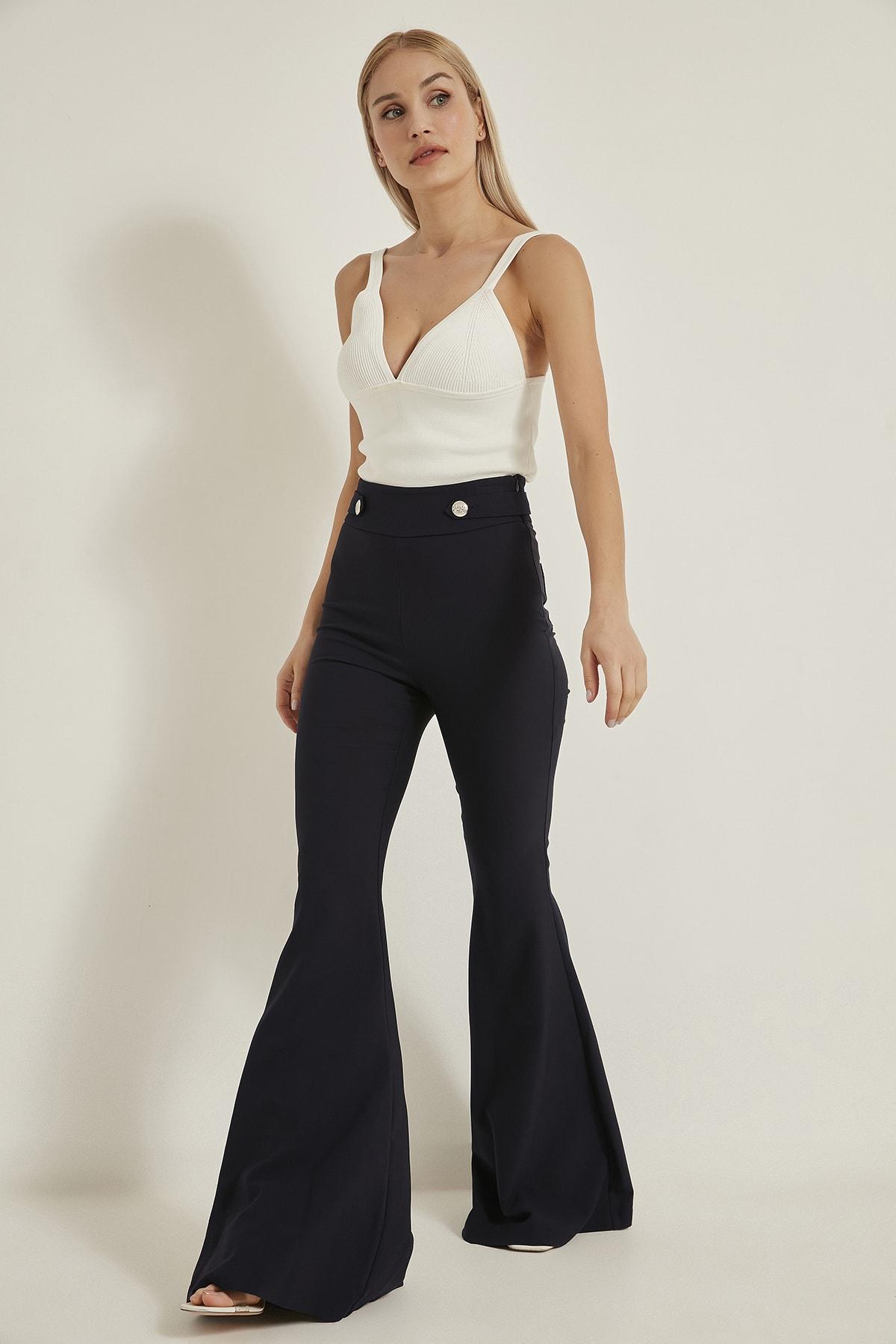 LA COSTUME Kadın Lacivert Ispanyol Paça Pantolon 1