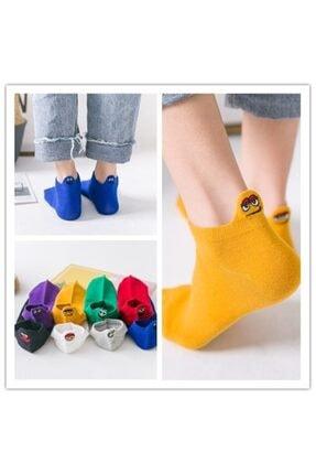 socksbox 8'li Unisex Renkli Emojili Nakışlı Işlemeli Çorap