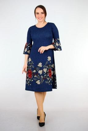 Alesia Kadın Lacivert  Çiçek Desenli Krep Elbise BTX112.