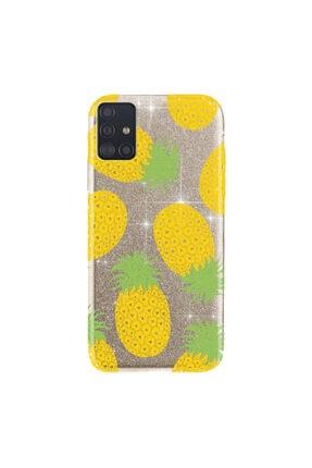 cupcase Samsung Galaxy A71 Kılıf Simli Parlak Kapak Altın Gold Renk - Stok319 - Ananas