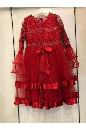 Bella Kız Çocuk Kırmızı Abiye Elbise