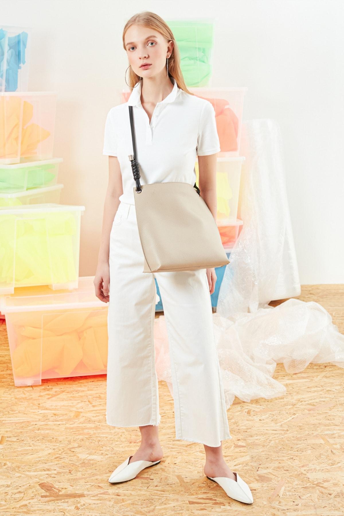 Mudo Kadın Beyaz Polo Yaka Pamuklu T-Shirt 368781 2