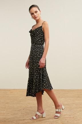 Mudo Kadın Siyah Degaje Yaka Puantiyeli Midi Elbise 377748
