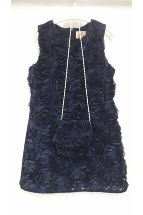 Bella Kız Cocuk Lacivert Gül Desenli Elbise