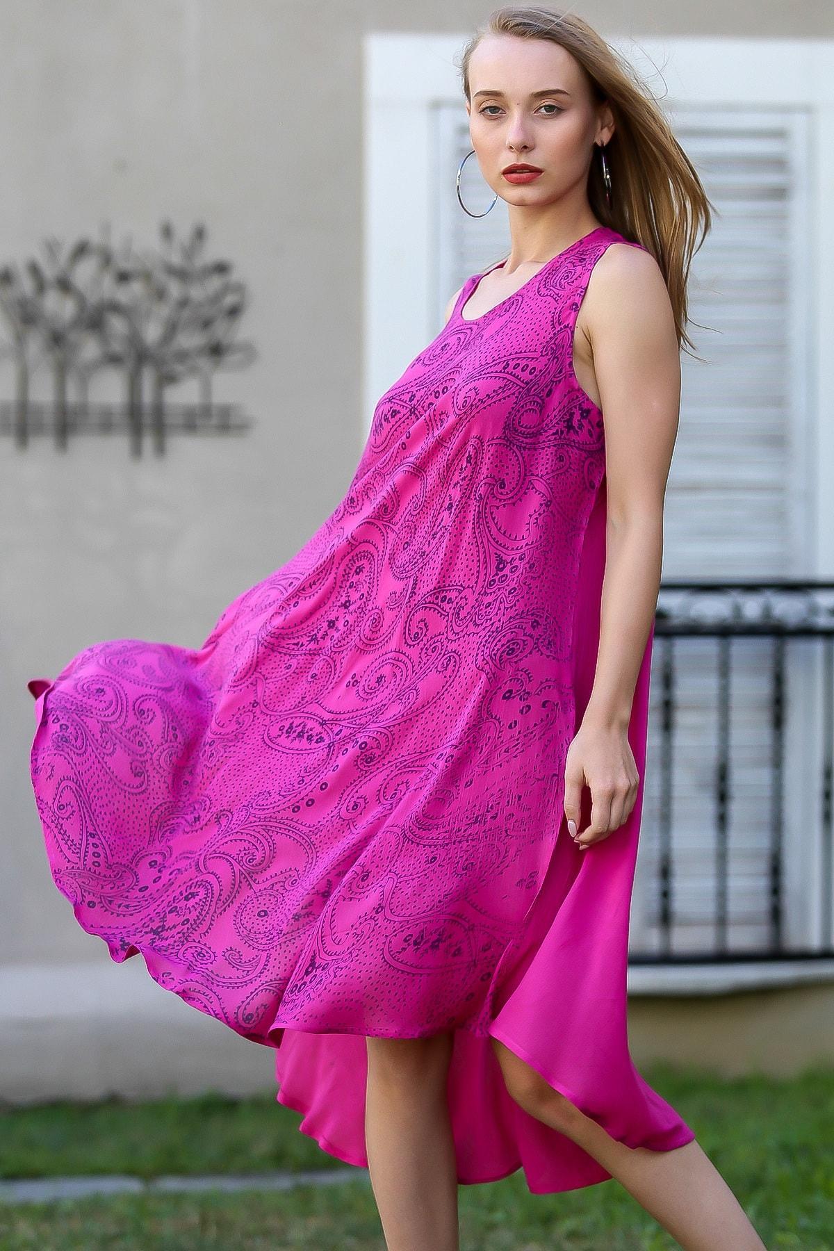 Chiccy Kadın Fuşya Bohem Şal Desen Baskılı Salaş Elbise M10160000EL96407