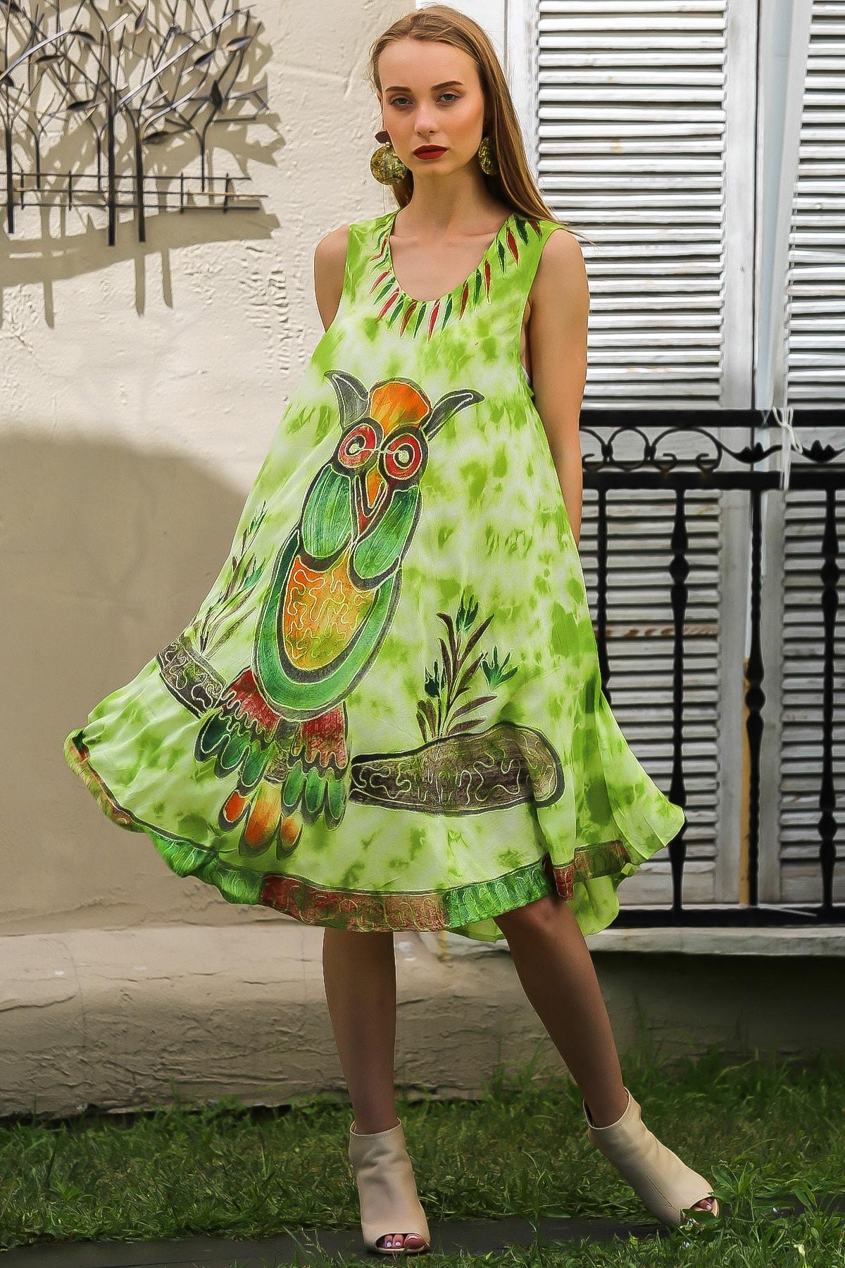 Chiccy Kadın Fistik Yeşili Bohem Baykuş Baskılı Nakış Detaylı Elbise M10160000EL96414