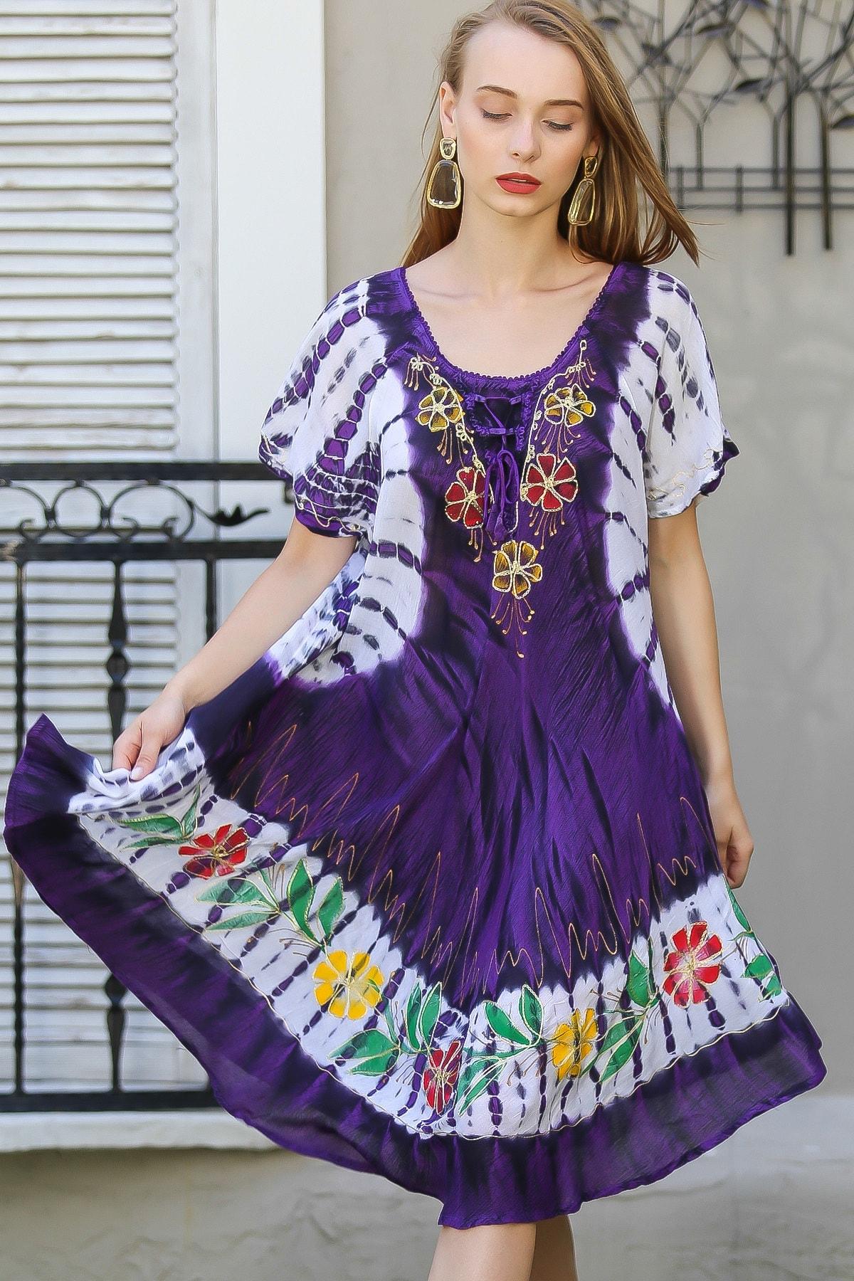 Chiccy Kadın Mor Bohem Batik Desenli Çiçek Nakış Detaylı Elbise M10160000EL96421