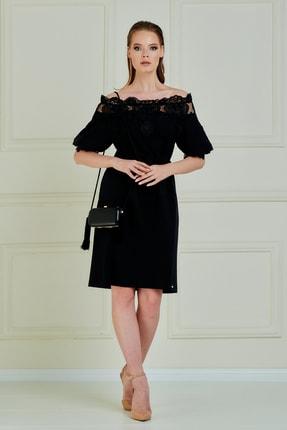 JEANNE DARC Kadın Siyah Güpür Detaylı Balon Kollu Straples Elbise Je87731