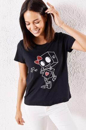 Zafoni Kadın Siyah T-shirt