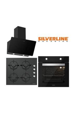 Silverline Siyah Cam Ankastre Set (3457 Soho 60+CS5335B01+BO6501B01)