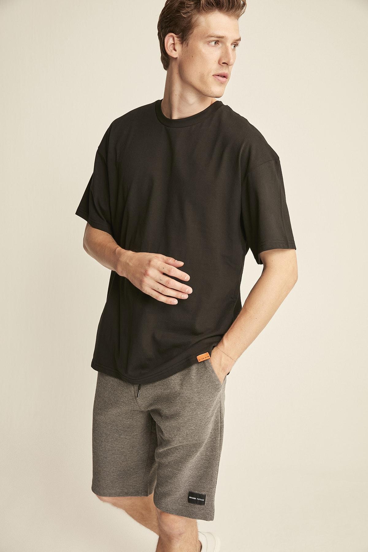 GRIMELANGE JETT Siyah Erkek Basic Bol Kesim T-shirt 1