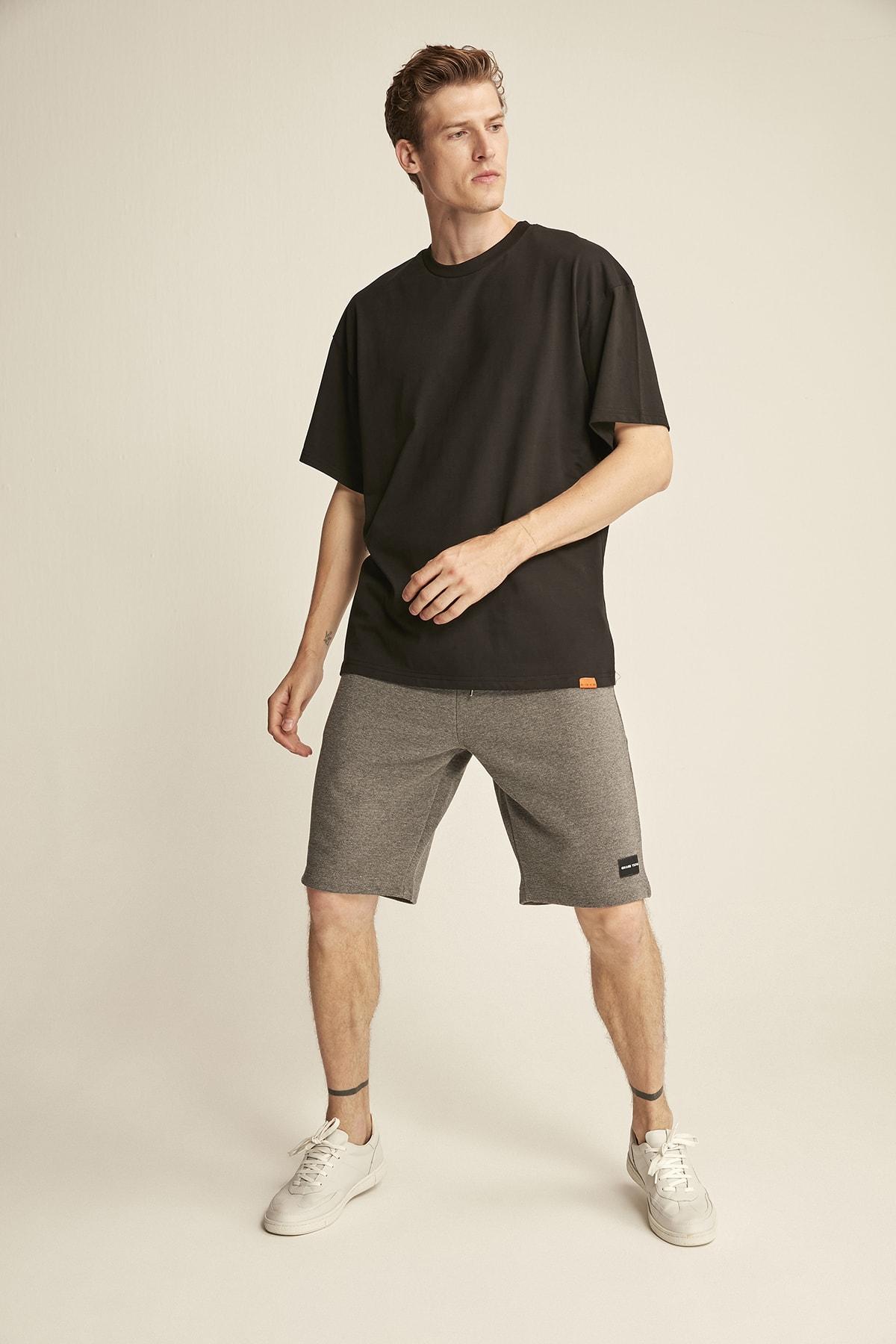 GRIMELANGE JETT Siyah Erkek Basic Bol Kesim T-shirt 2