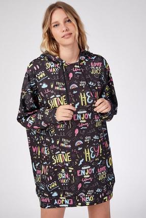 Happiness İst. Kadın Siyah Desenli Oversize Sweat Elbise  DD00511