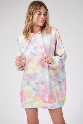 Happiness İst. Kadın Uçuk Pembe Desenli Oversize Sweat Elbise  DD00511