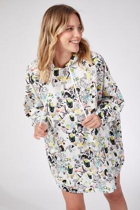Happiness İst. Kadın Sarı Desenli Oversize Sweat Elbise  DD00511