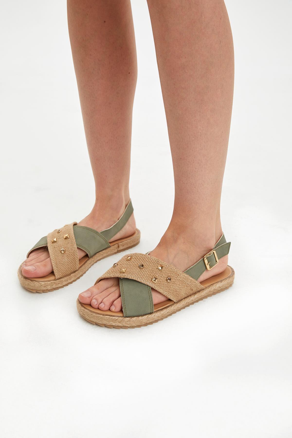 DeFacto Kadın Haki Hasır Detaylı Sandalet N9741AZ20HS