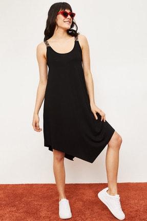 Bianco Lucci Kadın Siyah Etnik Desen Askılı Viskon Elbise