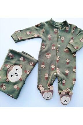 Murat Baby Bebek Yeşil  Tulum Maymun Baskılı Haki