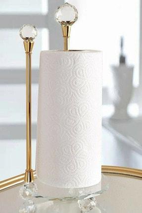LamproMelloni Lüx Kristal Topuz Ve Ayaklı Cam Metal Dik Havluluk Gold