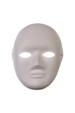 webcenter Mukavva Karton Maske Yüz Maskesi Beyaz Boyama Maskesi