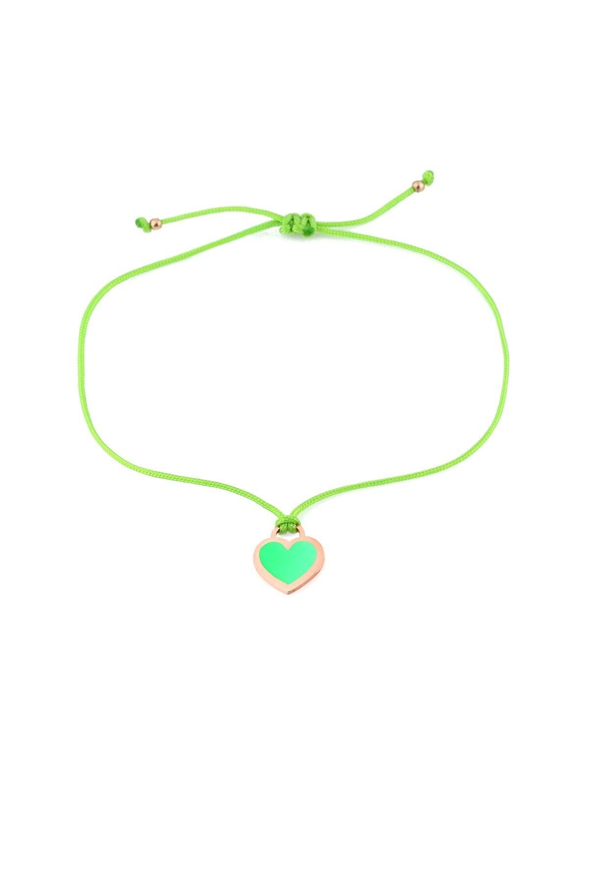 MySilvers Yeşil Neon Kalpli Ipli Gümüş Halhal 1