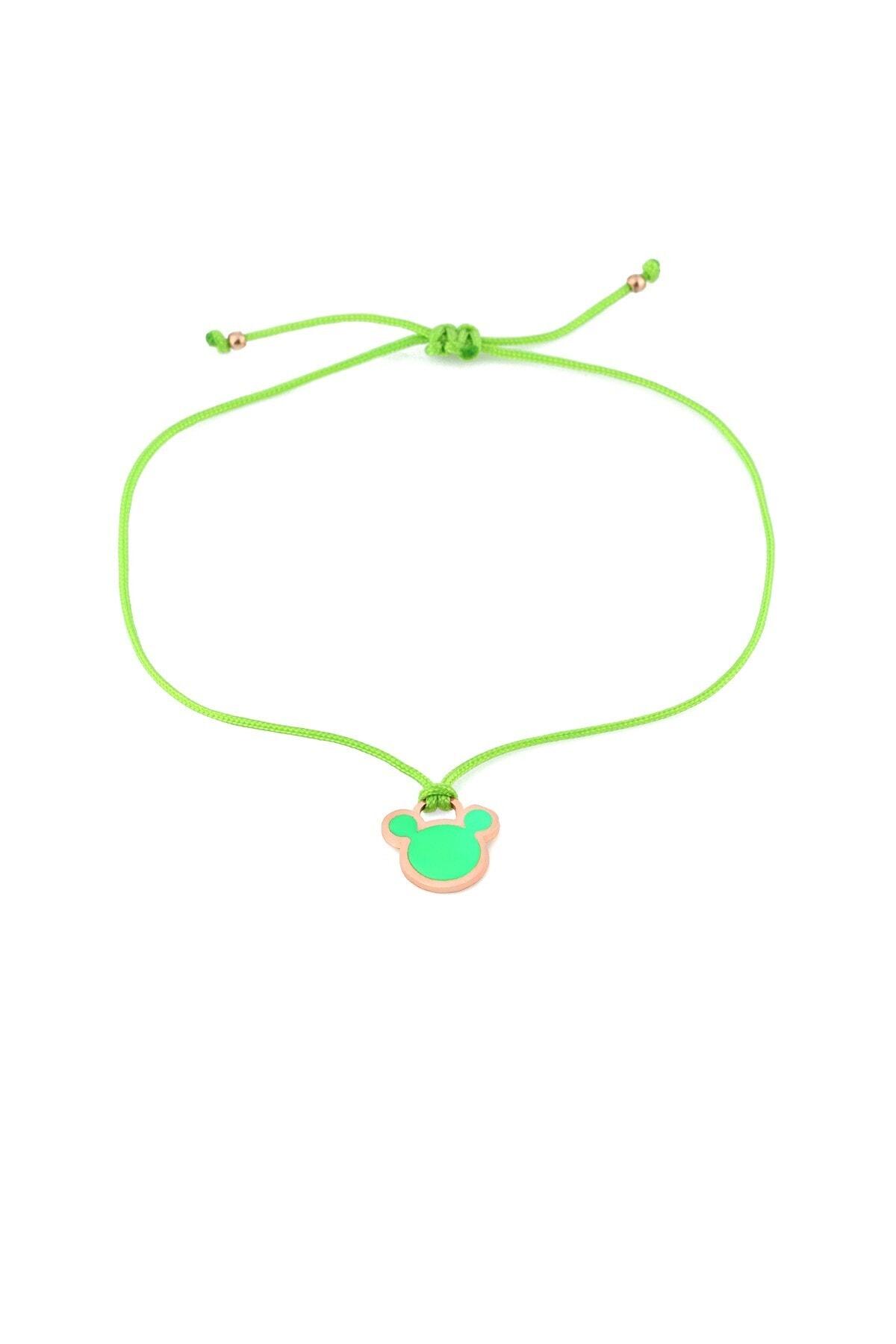MySilvers Yeşil Neon Micky Ipli Gümüş Halhal 1