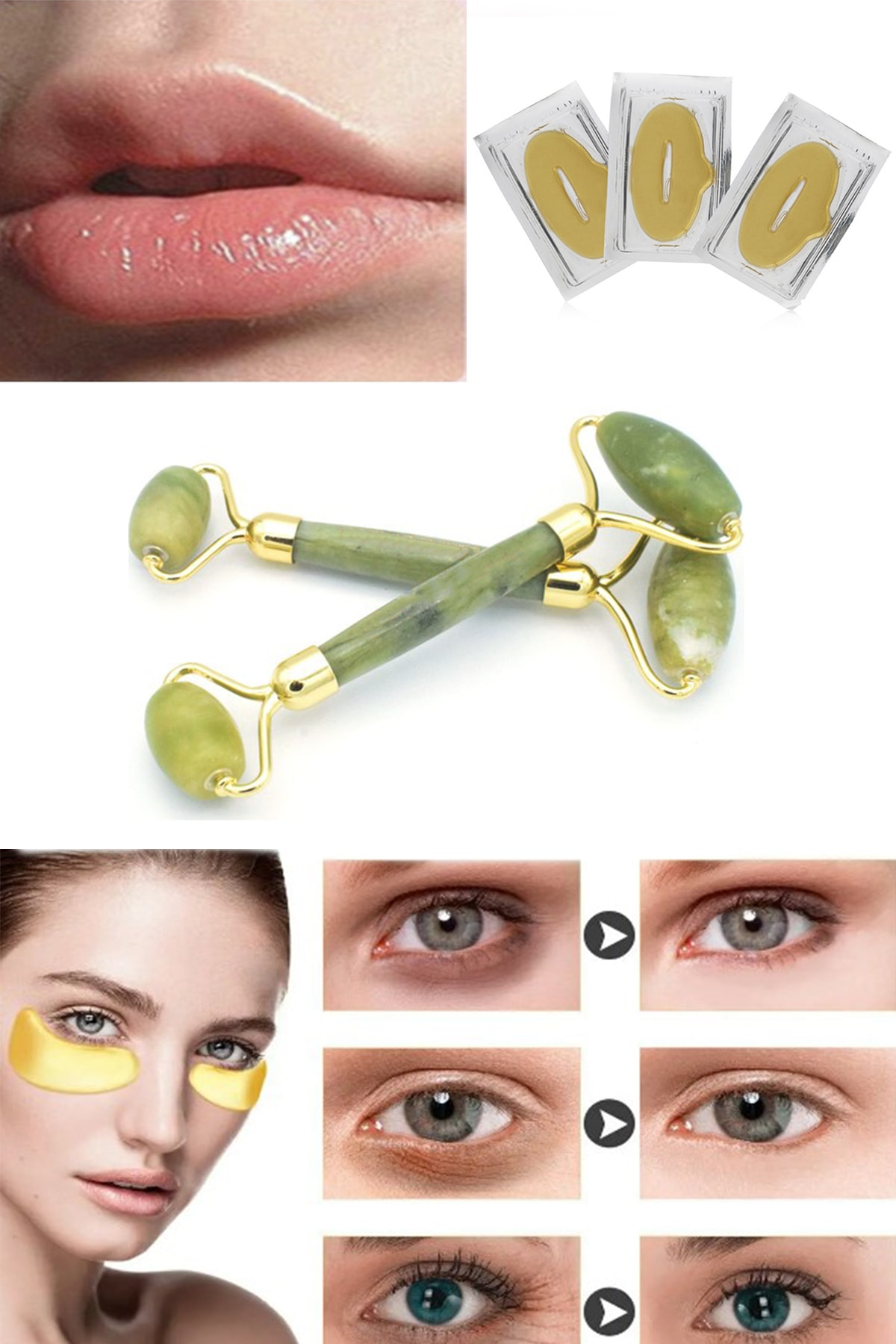 xolo Jade Roller Yeşim Taşı + Dudak Maskesi + Gözaltı Maske Kolajen 1