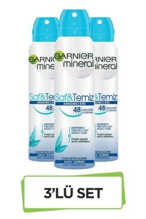Garnier Mineral Saf&Temiz Sprey Deodorant 3'lü Set 36005420351323