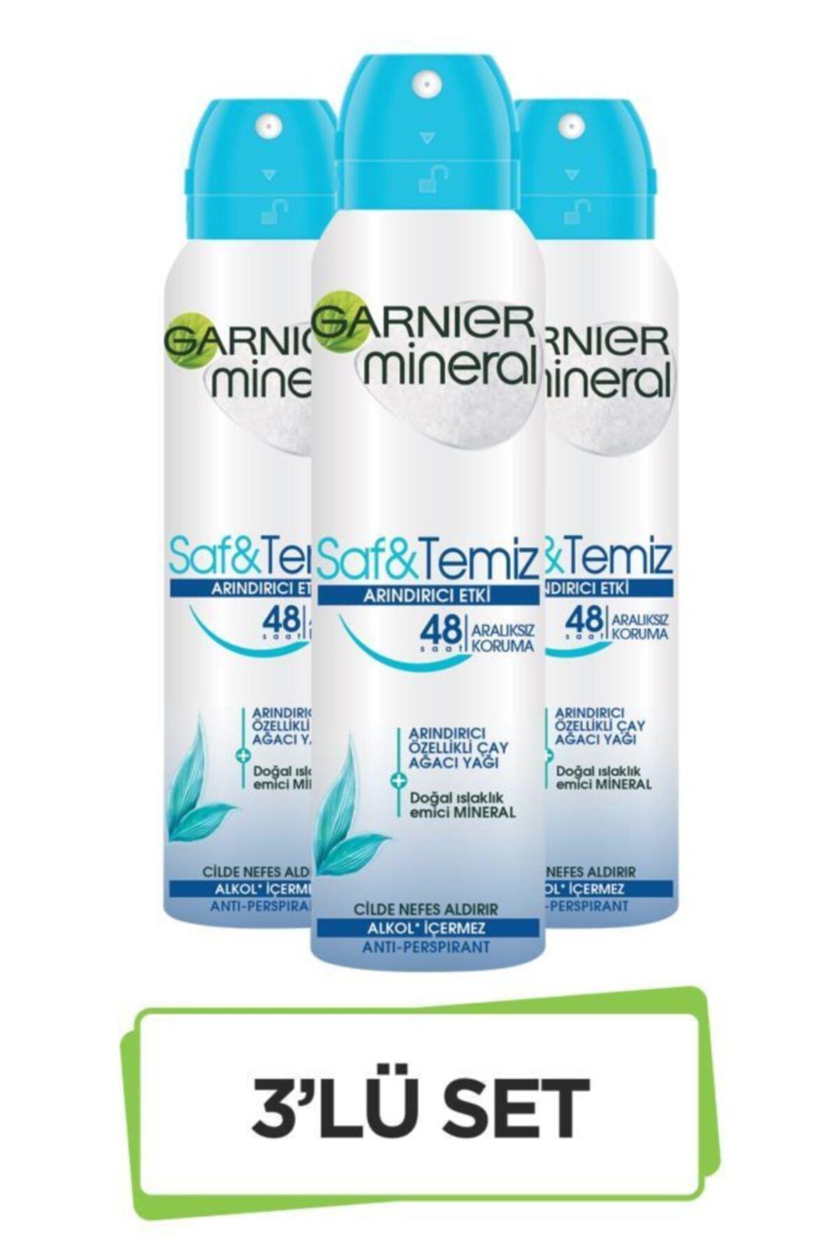 Garnier Mineral Saf&Temiz Sprey Deodorant 3'lü Set 36005420351323 1