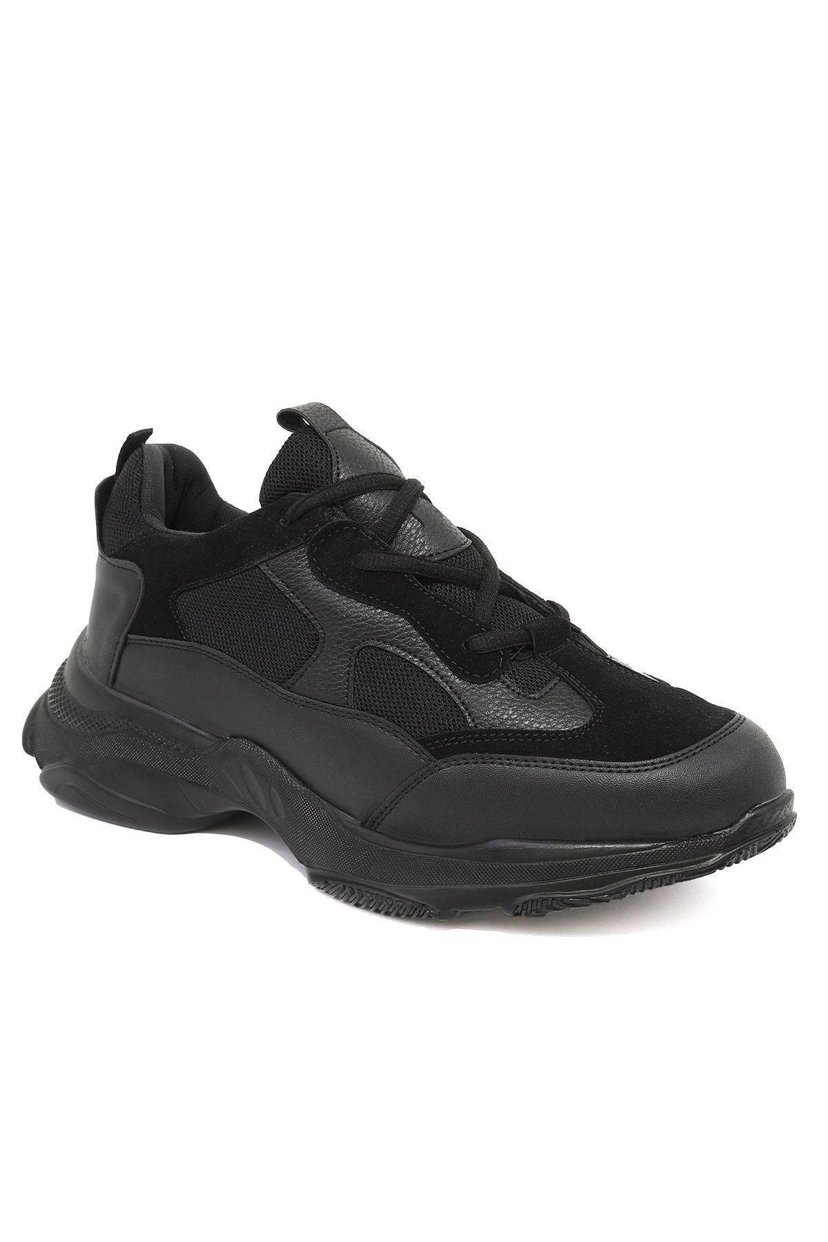 LETOON Erkek Siyah Yüksek Tabanlı Sneaker Ayakkabı 1