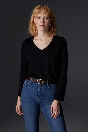 Urban Muse Kadın Siyah V Yaka Uzun Kollu Siyah T-shirt