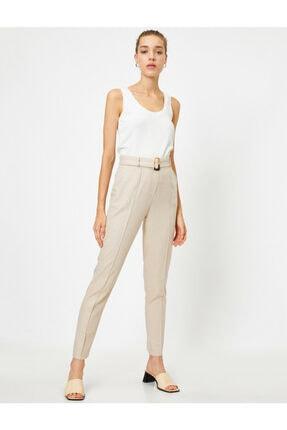 Koton Kadın Ekru Yüksek Bel Cepli Kemerli Pantolon