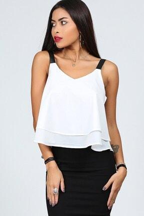 Womenice Kadın Beyaz Bant Askılı Bluz