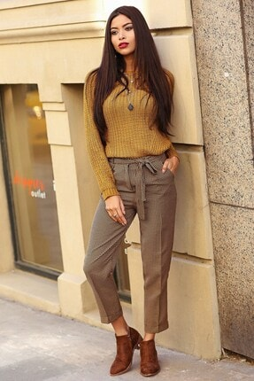 Womenice Kadın Hardal Kaz Ayağı Beli Kuşaklı Pantolon