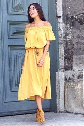 Womenice Kadın Sarı Hardal Madonna Yaka Viskon Elbise