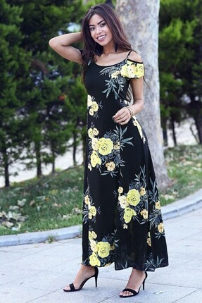 Womenice Kadın Siyah Çiçekli Ince Askılı Elbise