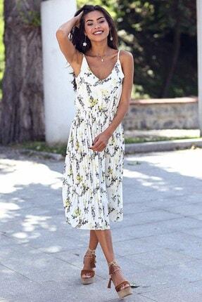Womenice Kadın Beyaz Çiçek Baskılı Piliseli İnce Askılı Elbise